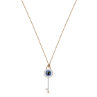 Duo Evil Eye Pendant, Multi-Colored, Rose Gold Plating