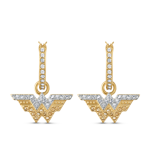 Fit Wonder Woman Hoop Pierced Earrings, Gold tone, Mixed metal finish