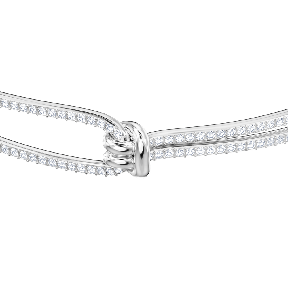 Lifelong Bangle, White, Rhodium Plating
