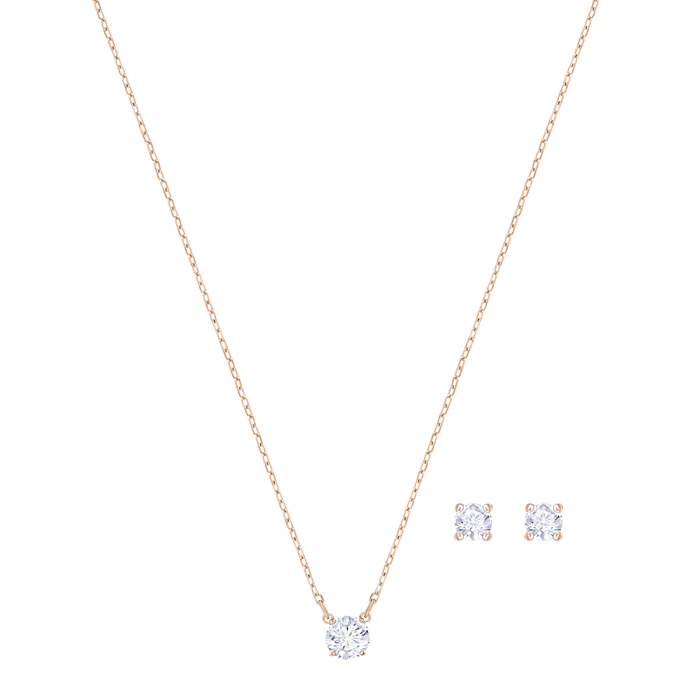 Attract Round Set, White, Rose Gold Plating