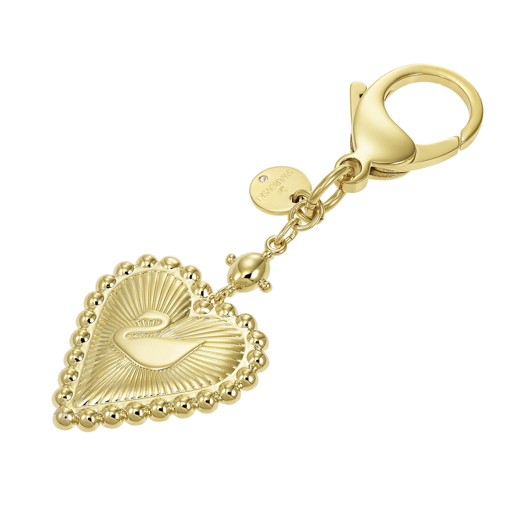 Vintage Swan Bag Charm, White, Gold-tone plated