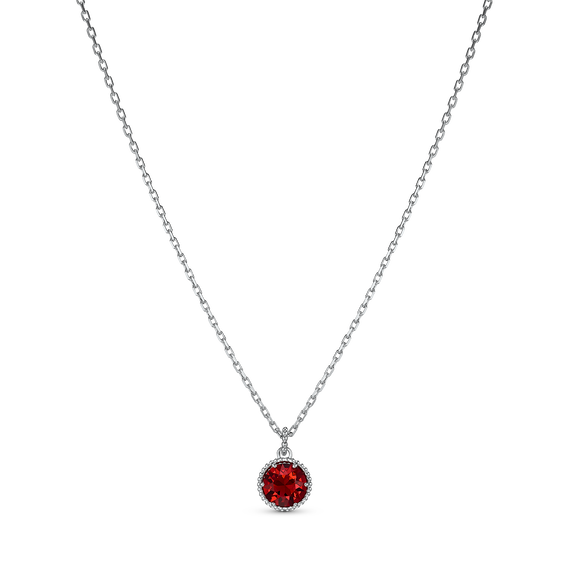Birthstone Pendant, January, Red, Rhodium plated