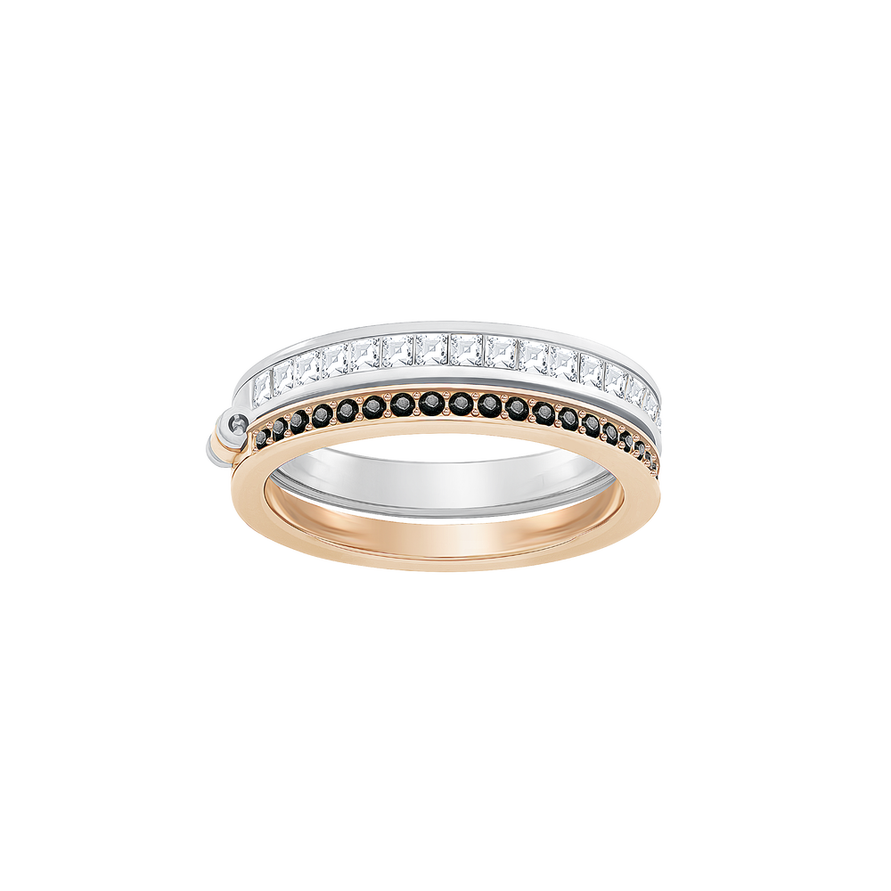 Hint Double Ring, White, Mixed plating