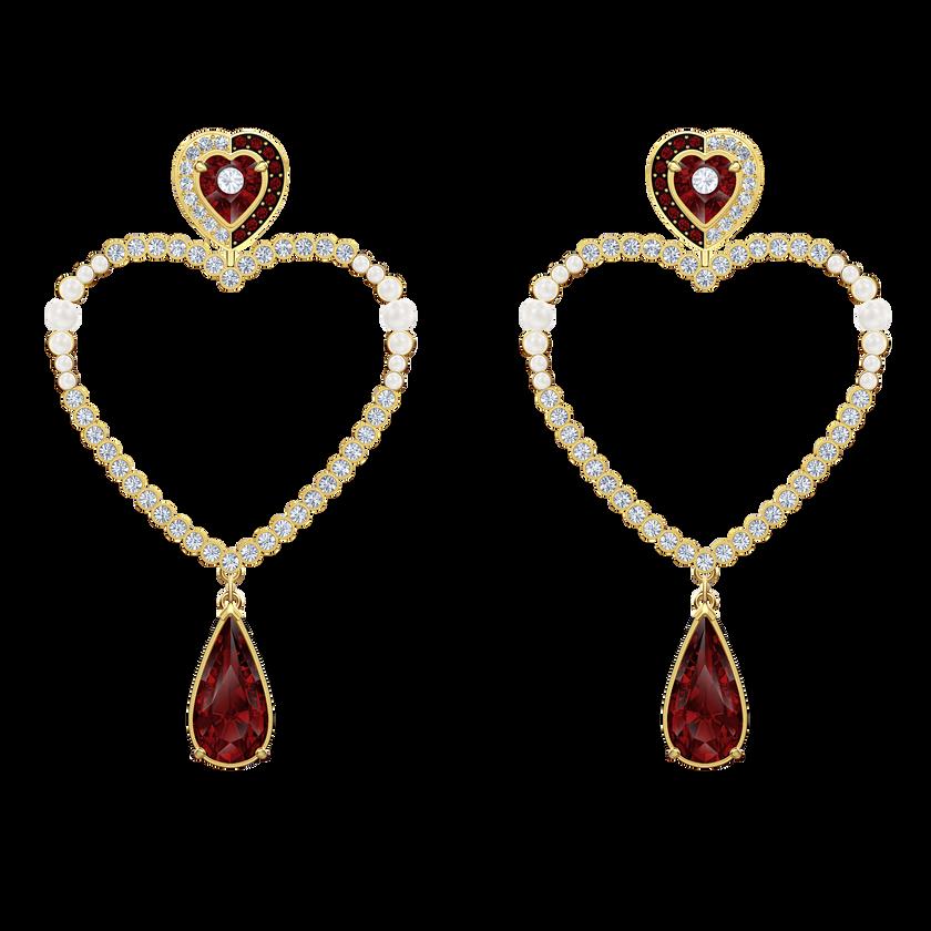 Black Baroque Hoop Pierced Earrings, Multi-colored, Gold-tone plated
