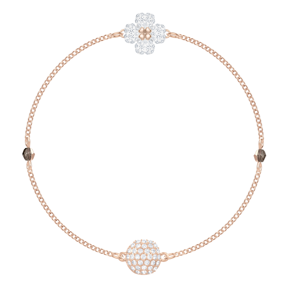 The Swarovski Remix Collection Clover, White, Rose Gold Plating