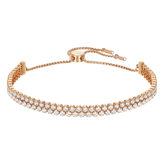 Subtle Double Bracelet, White, Rose Gold Plated