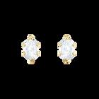 Oz Pierced Earrings, White, Gold plating
