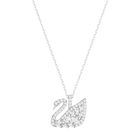 Swan Lake Pendant, Small, White, Rhodium Plating
