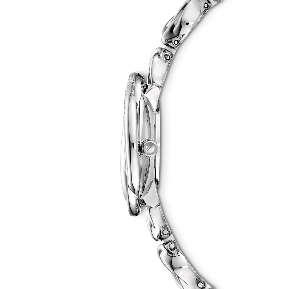 Crystal Flower Watch, Metal bracelet, Silver Tone, Stainless steel