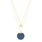 Ginger Layered Pendant, Blue, Gold Plated