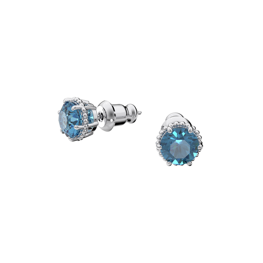 Birthstone earrings, December, Blue, Rhodium plated