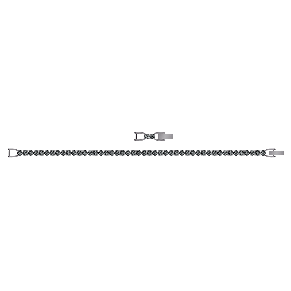Tennis Deluxe Bracelet, Gray, Ruthenium plated