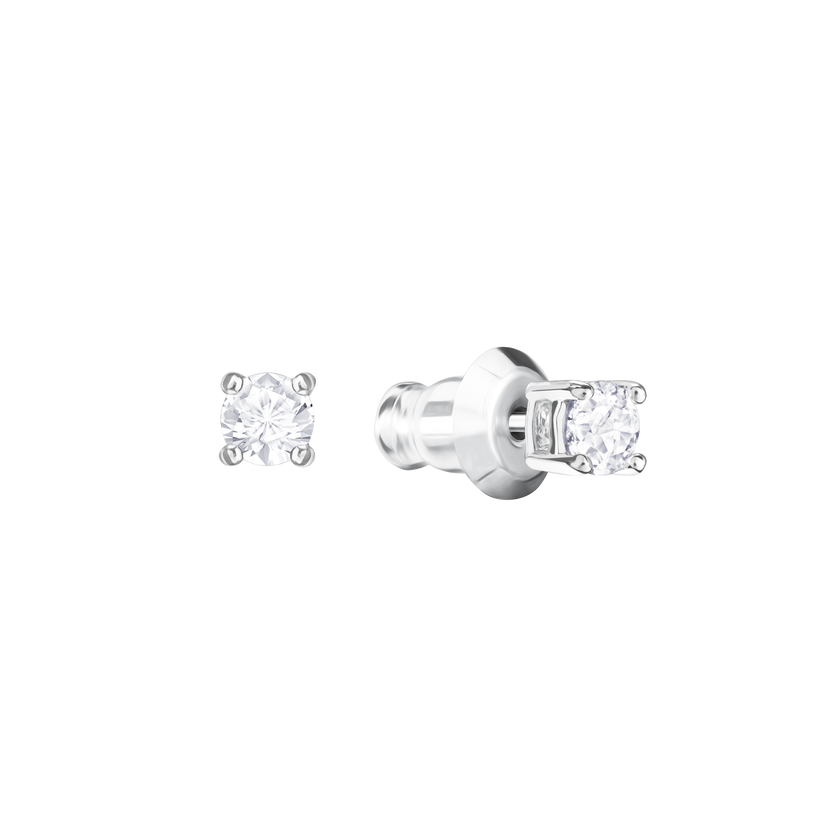 Attract Round Pierced Earrings, White, Rhodium Plating