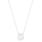 Bella V Pendant, White, Rhodium plated