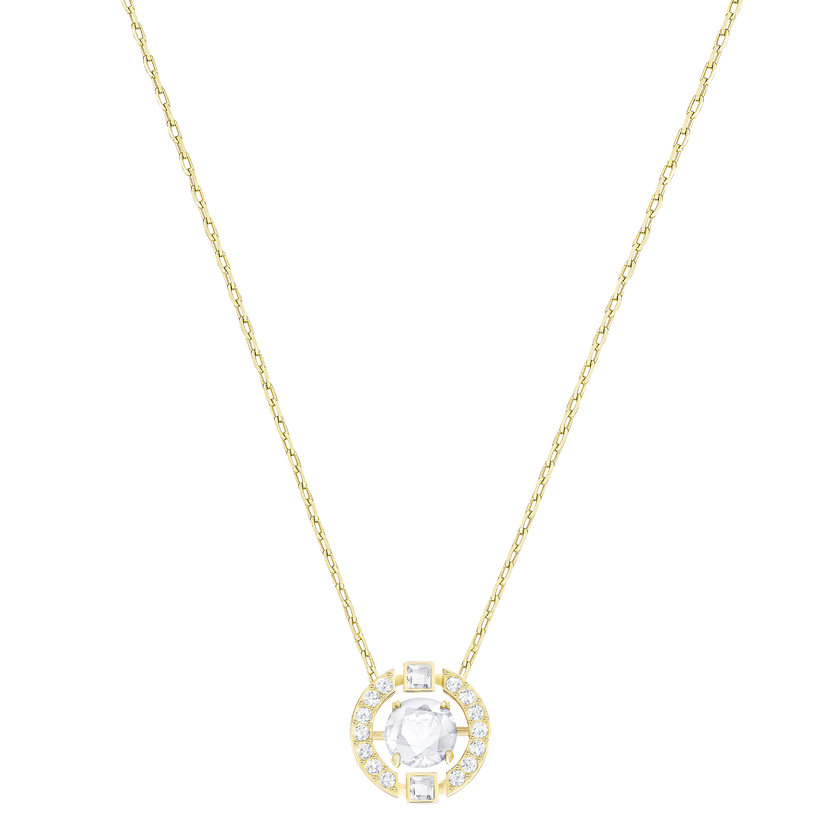 Sparkling Dance Round Necklace, White, Gold Plated