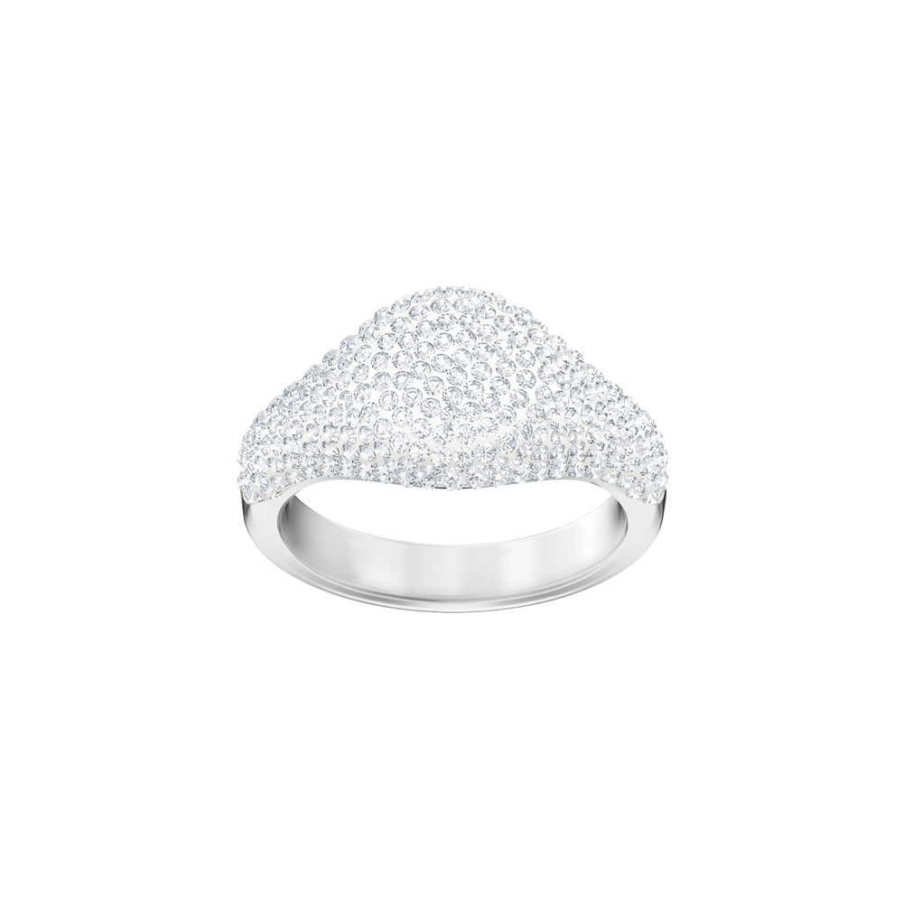 Stone Signet Ring, White, Rhodium Plating