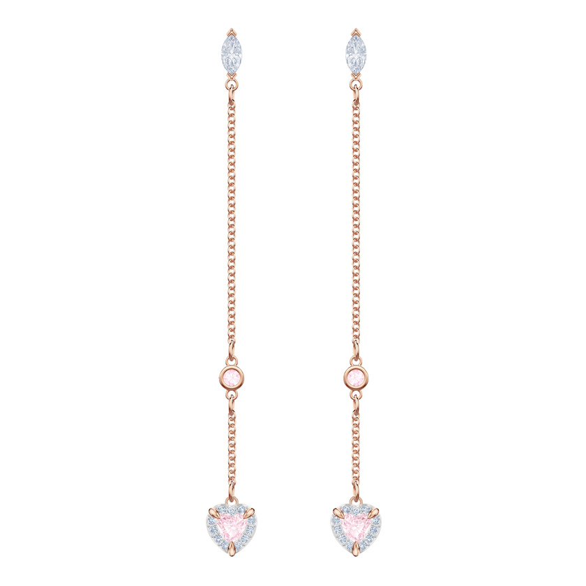 One Pierced Earrings, Multi-colored, Rose gold plating