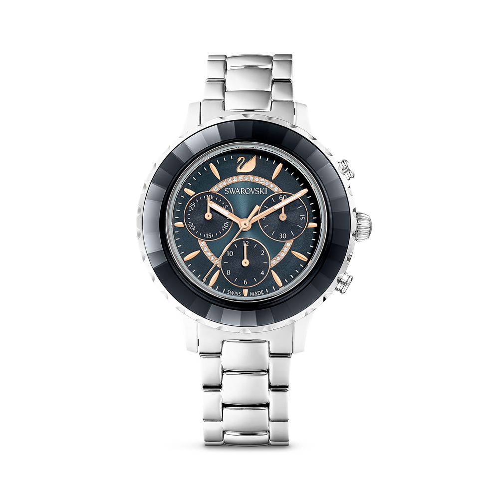 Octea Lux Chrono Watch, Metal bracelet, Black, Silver tone
