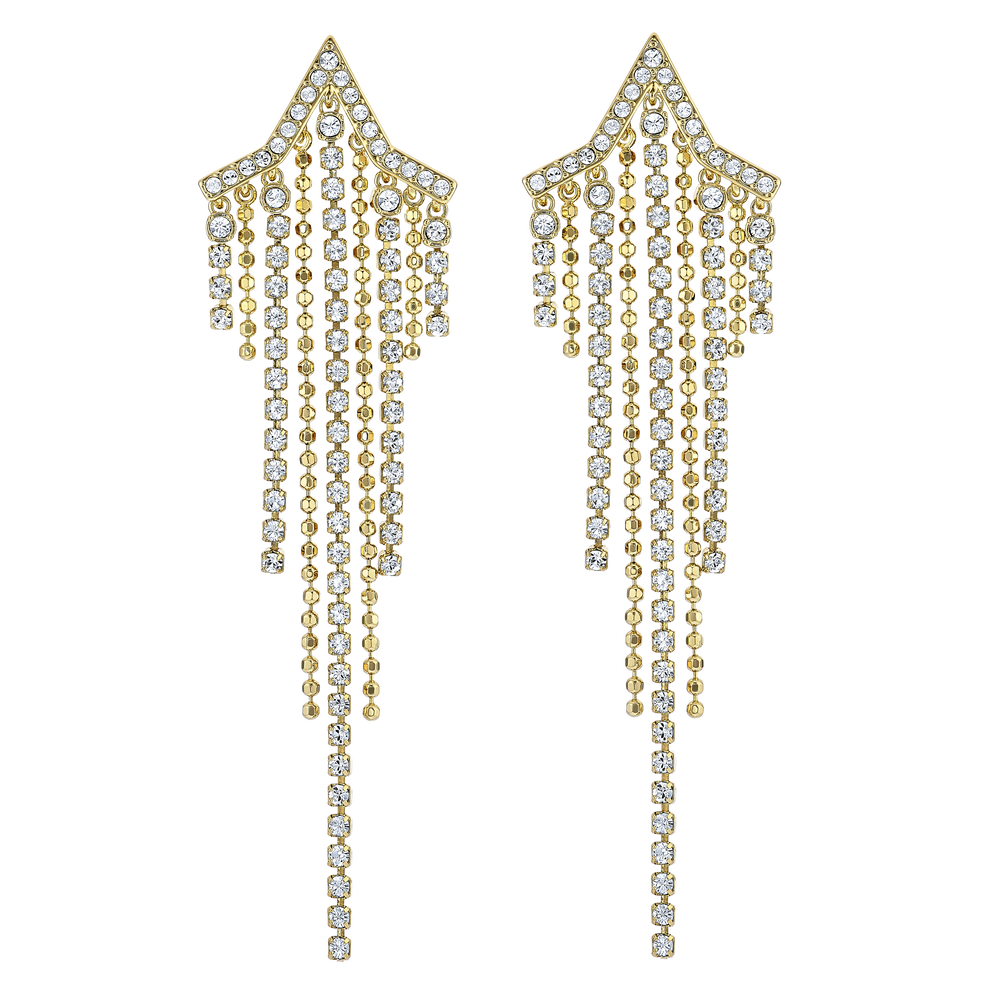Fit Star Pierced Tassell Earrings, White, Gold-tone plated