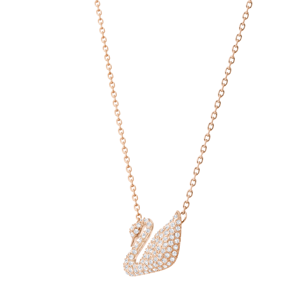 Swan Necklace, White, Rose Gold Plated