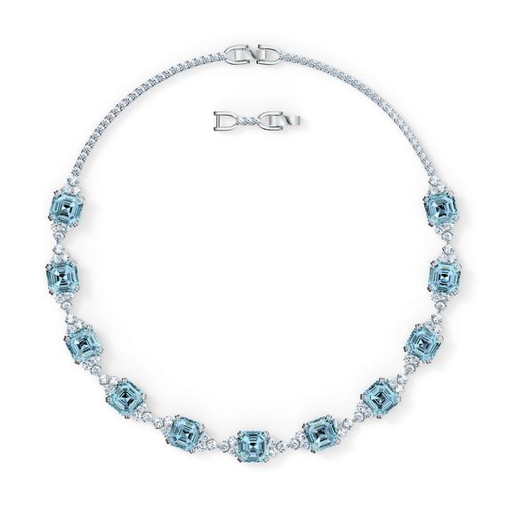 Sparkling Necklace, Aqua, Rhodium plated