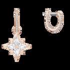 Swarovski Symbolic Star Hoop Pierced Earrings, White, Rose-gold tone plated