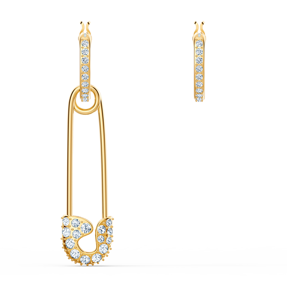 So Cool Pin Pierced Earrings, White, Gold-tone plated