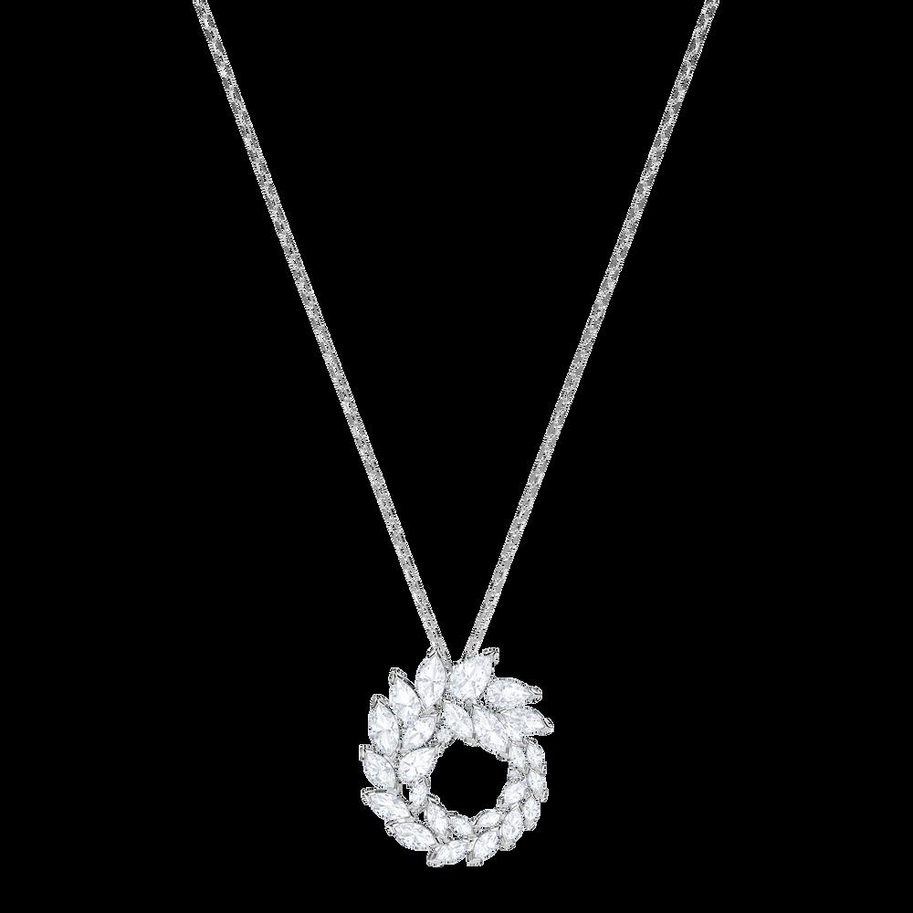 Louison Pendant, White, Rhodium Plating