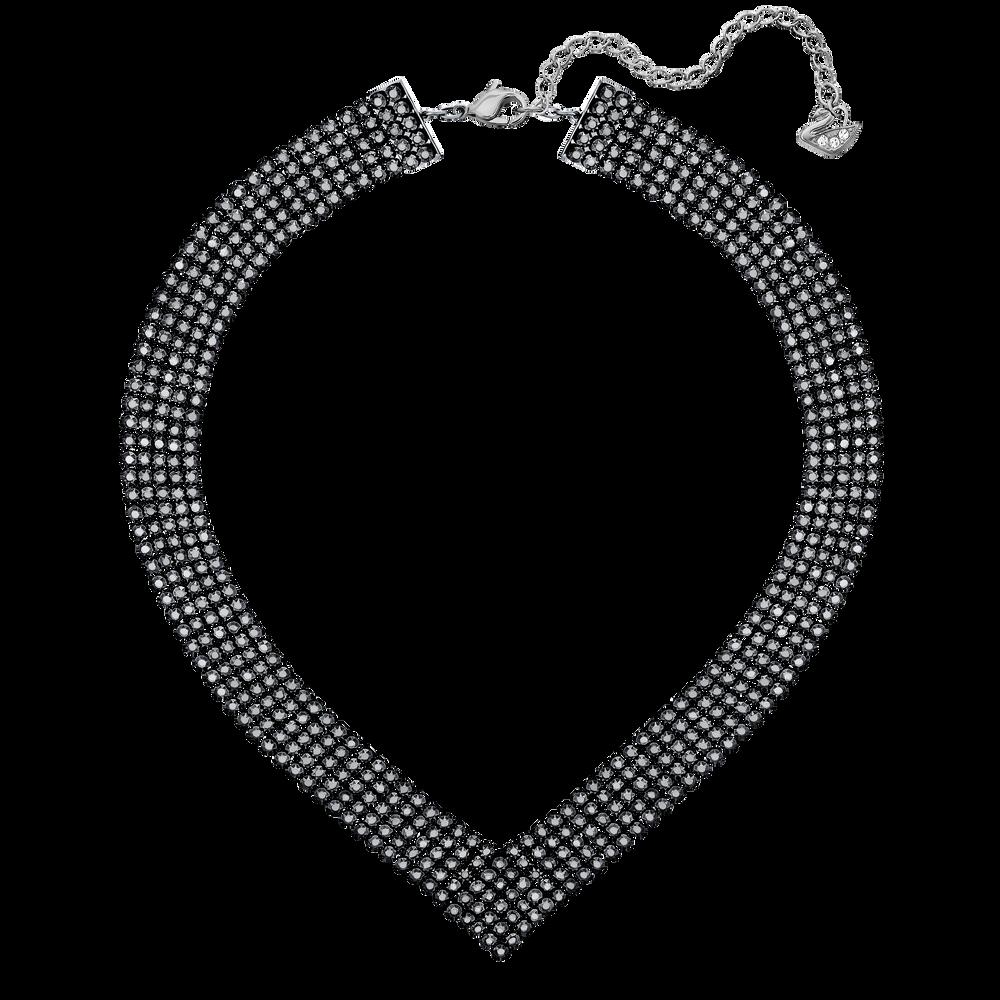 Fit Necklace, V Shaped, Black, Ruthenium Plated