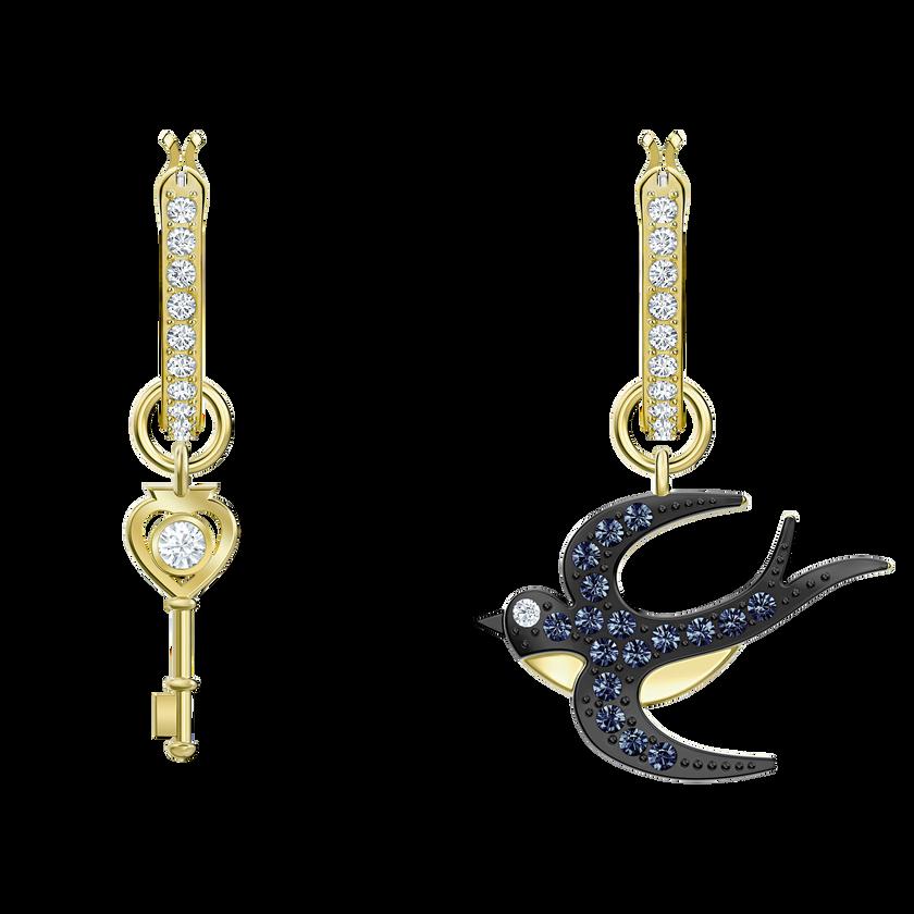 Tarot Magic Hoop Pierced Earrings, Blue, Gold-tone plated