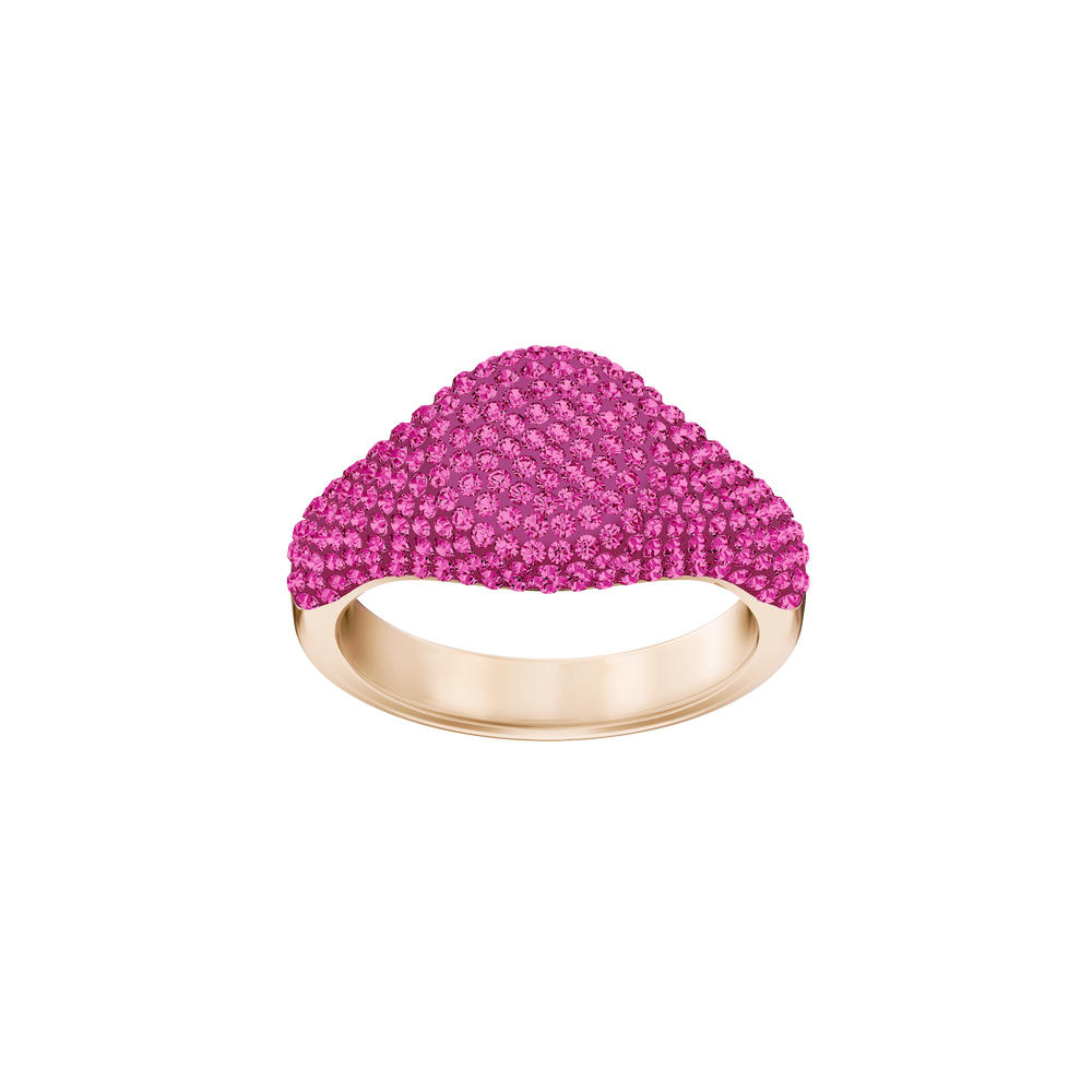 Stone Signet Ring, Pink, Rose-gold tone plated