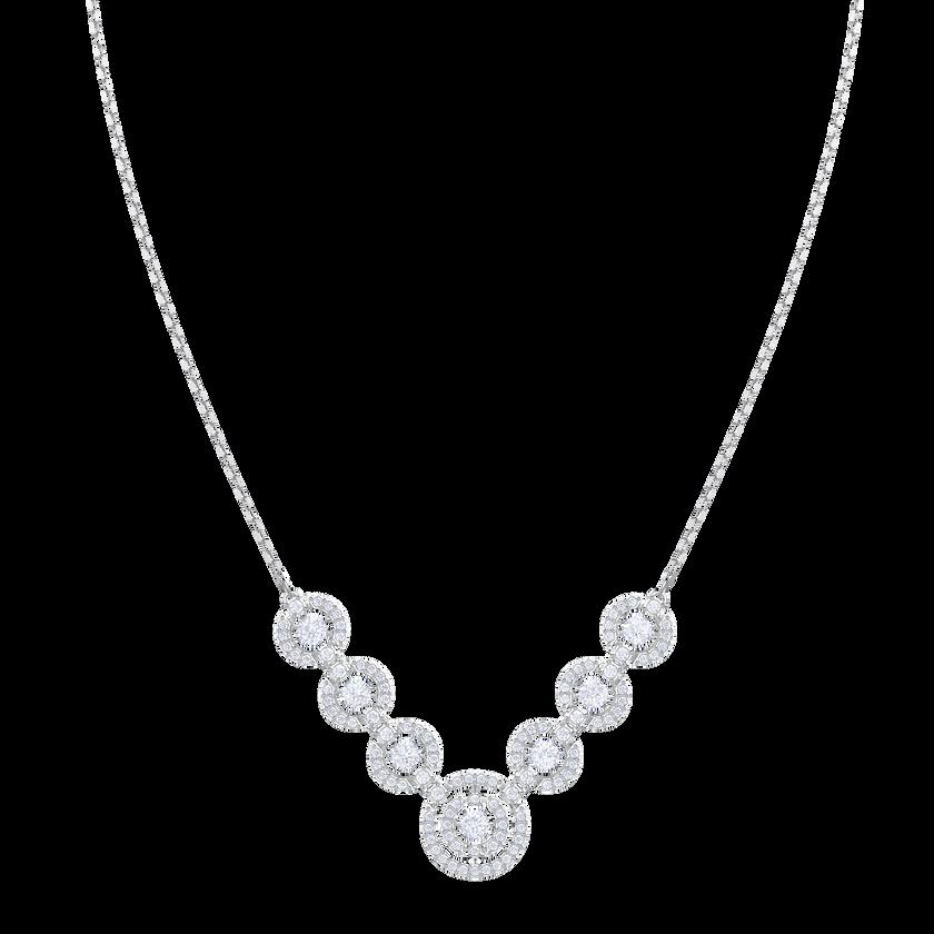Sparkling Dance Necklace, White, Rhodium plating