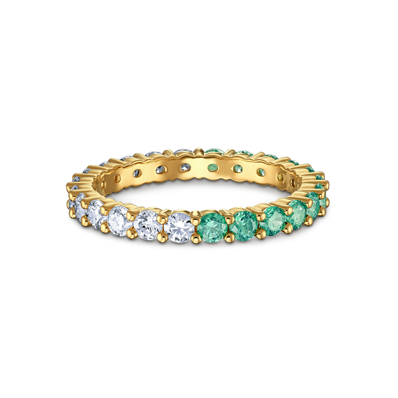 Vittore Half Ring, Green, Gold-tone plated