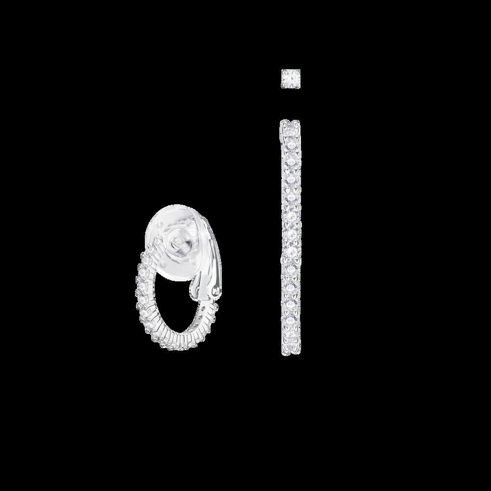 Vittore Pierced Earrings, White, Rhodium plated