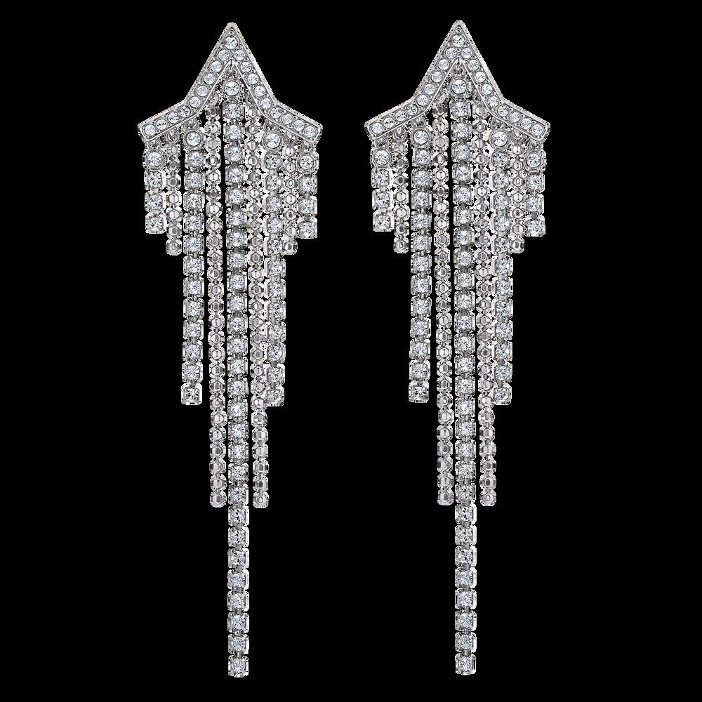 Fit Star Pierced Tassell Earrings, White, Rhodium plated
