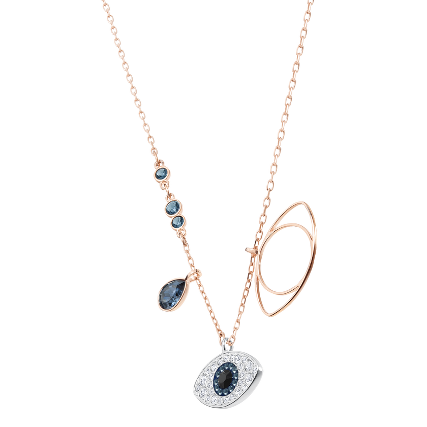Duo Evil Eye Pendant, Blue, Mixed Plating