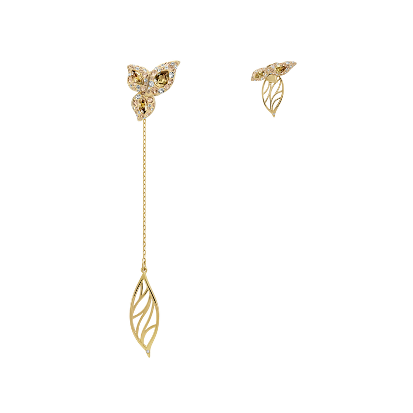 Graceful Bloom Mistmatched Earrings, Brown, Gold-tone plated