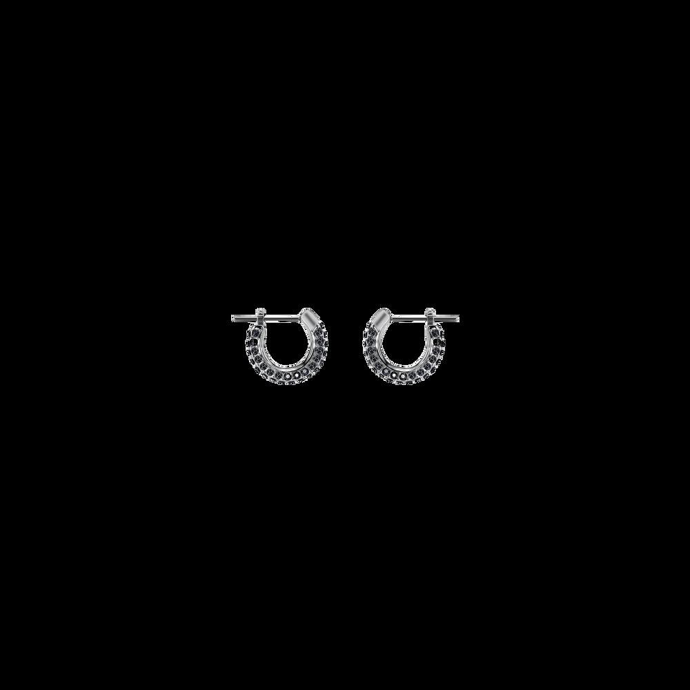Stone Pierced Earrings, Small, Black, Rhodium Plating