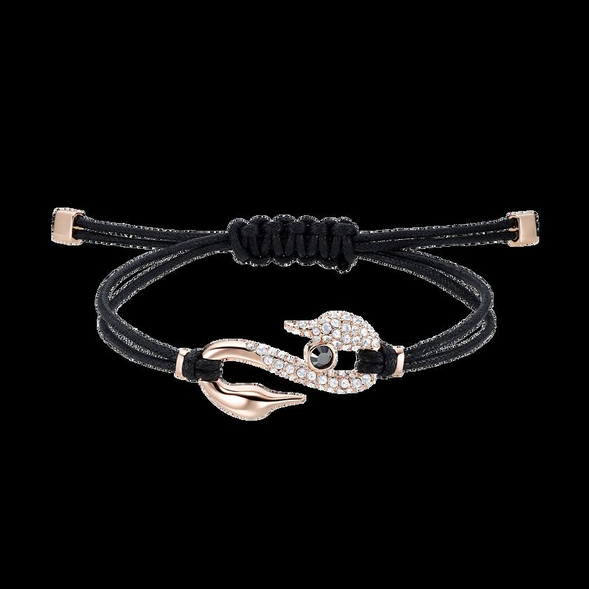 Swarovski Power Collection Hook Bracelet, Black, Rose-gold tone plated