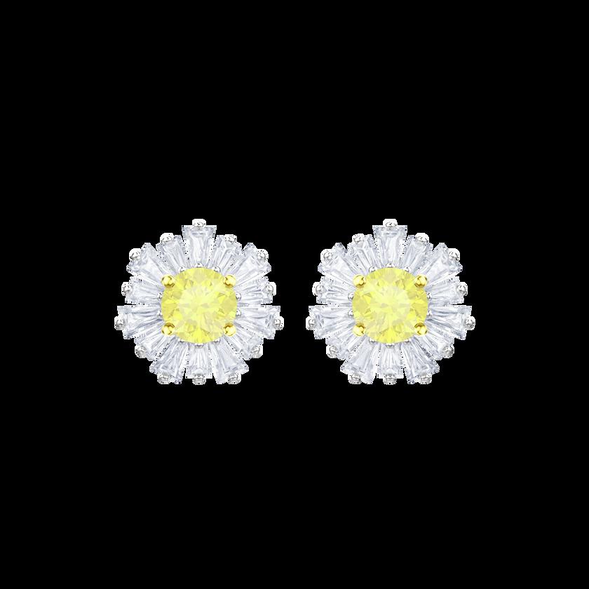 Sunshine Pierced Earrings, White, Rhodium plating