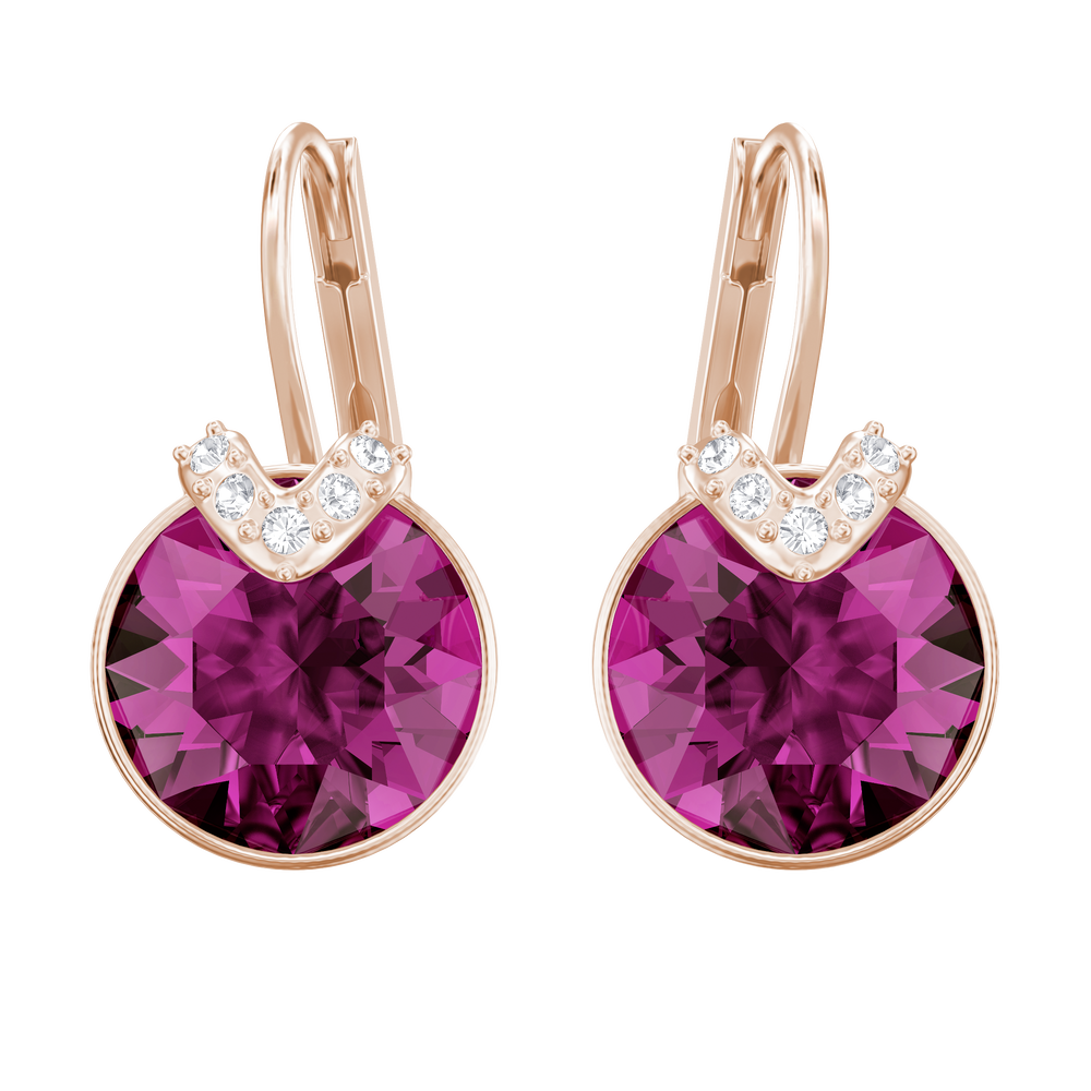 Bella V Pierced Earrings, Fuchsia, Rose Gold Plating