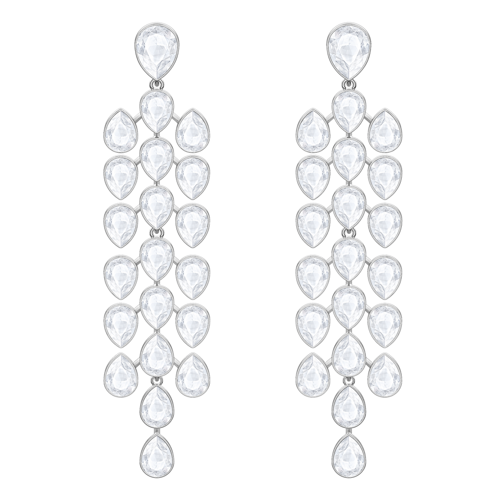Lake Pear Chandelier Pierced Earrings, White, Rhodium plated