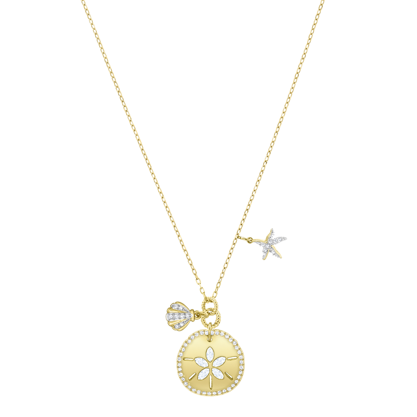 Ocean Sand Coin Necklace, White, Gold plating