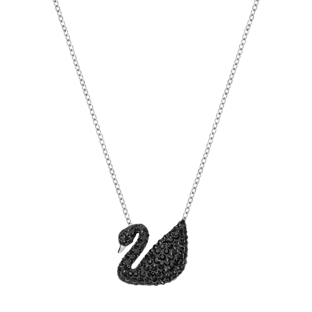 Iconic Swan Pendant, Black, Rhodium Plated