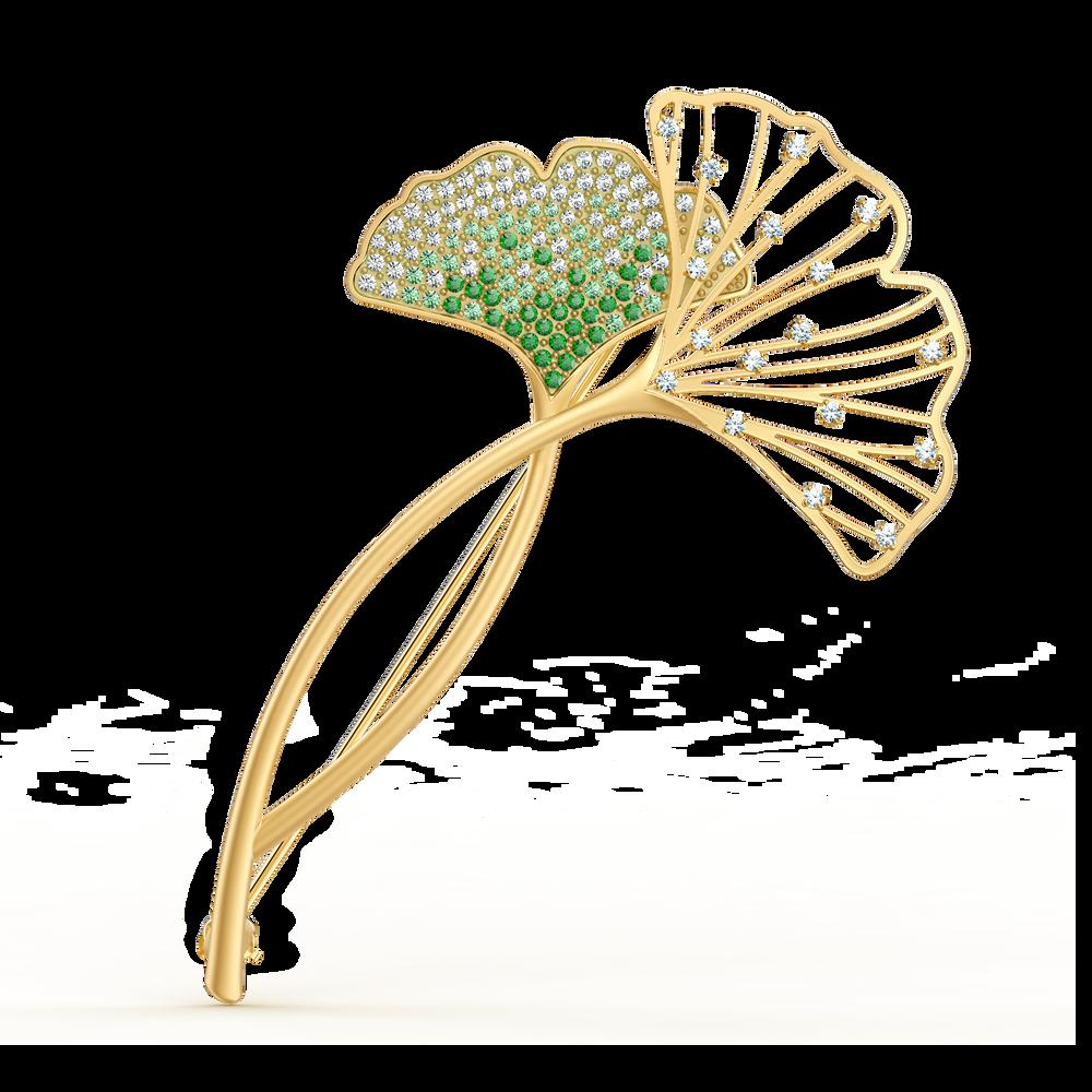 Stunning Ginko Brooch, Green, Gold-tone plated