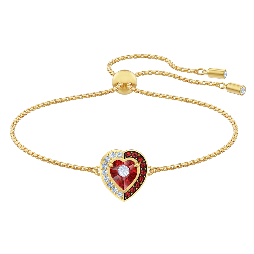 Black Baroque Bracelet, Red, Gold-tone plated