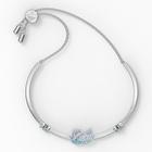 Iconic Swan Bangle, Blue, Rhodium plated