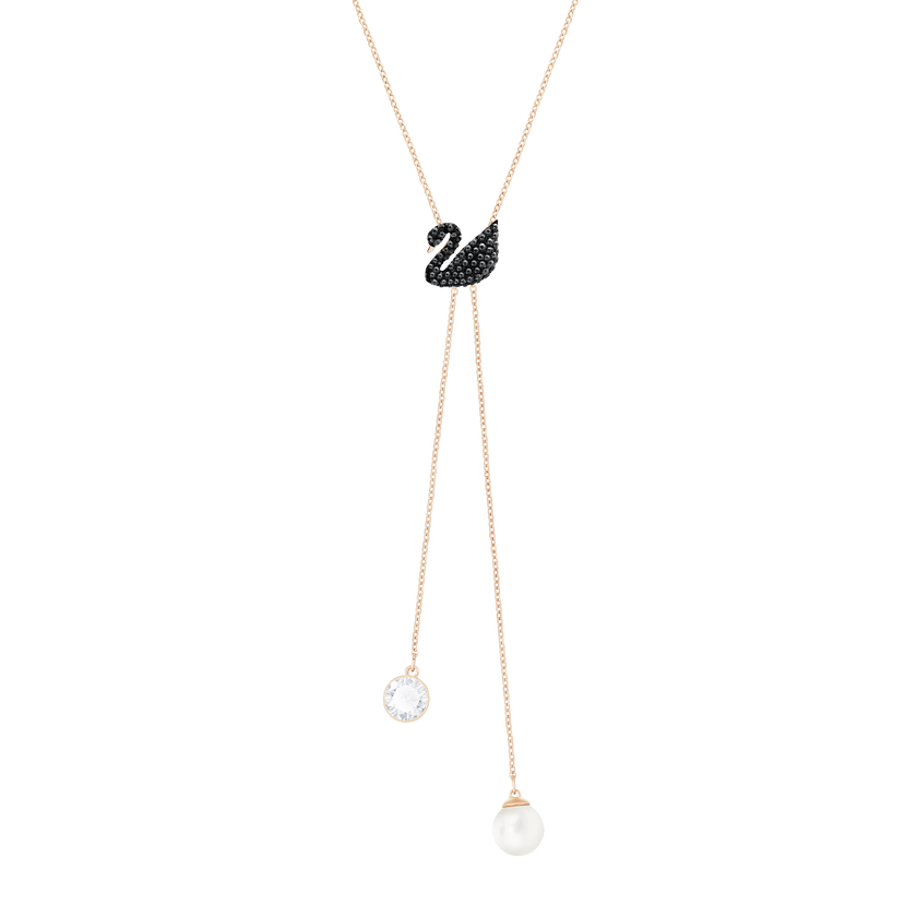 Iconic Swan Double Y Necklace, Black, Rose Gold Plating