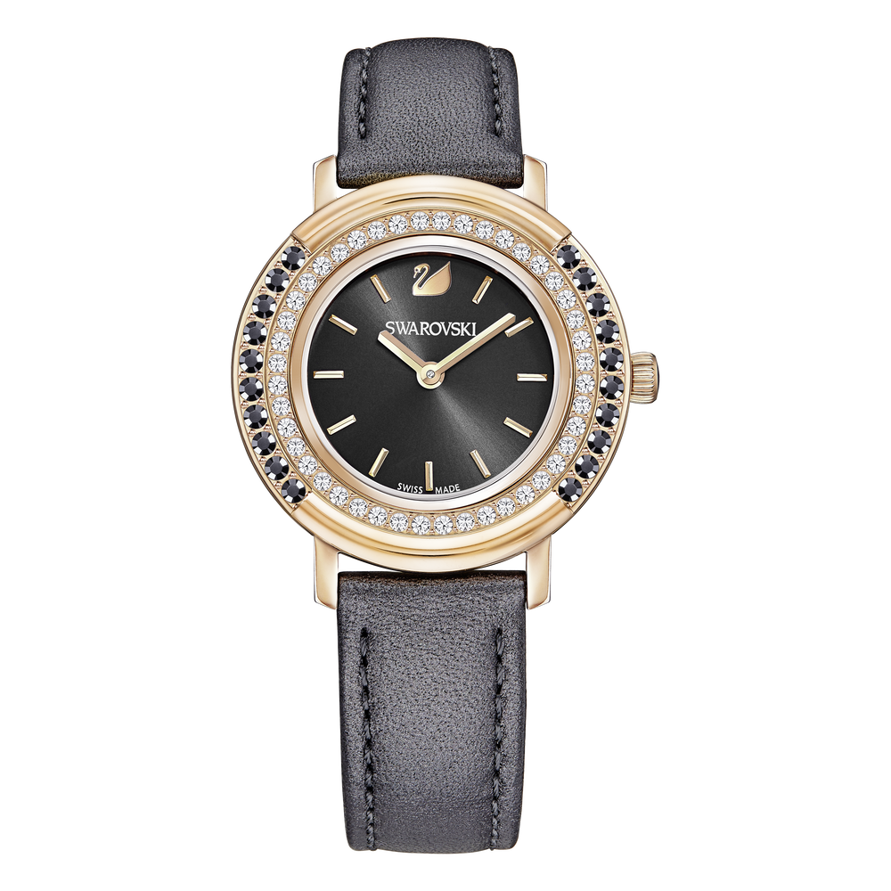 Playful Lady Watch, Leather strap, Gray, Rose-gold tone PVD