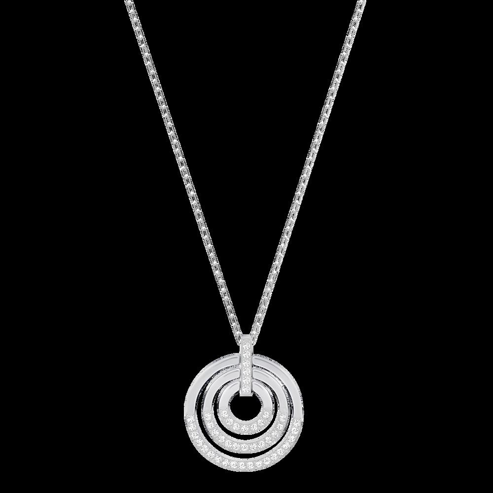 Circle Pendant, Medium, White, Rhodium Plated